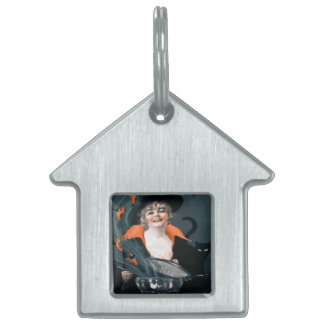 Vintage Witch Summoning Food For Her Cat Pet Name Tag