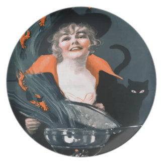 Vintage Witch Summoning Food For Her Cat Party Plate