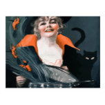 Vintage Witch Summoning Food For Her Cat Post Card