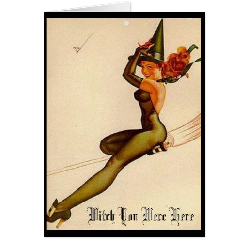 Vintage Witch, Witch You Were Here Stationery Note Card