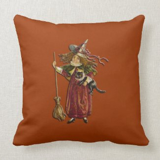Vintage Witch with Black Cat American Mojo Pillow