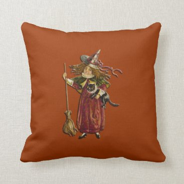 Halloween Themed Vintage Witch with Black Cat American Mojo Pillow