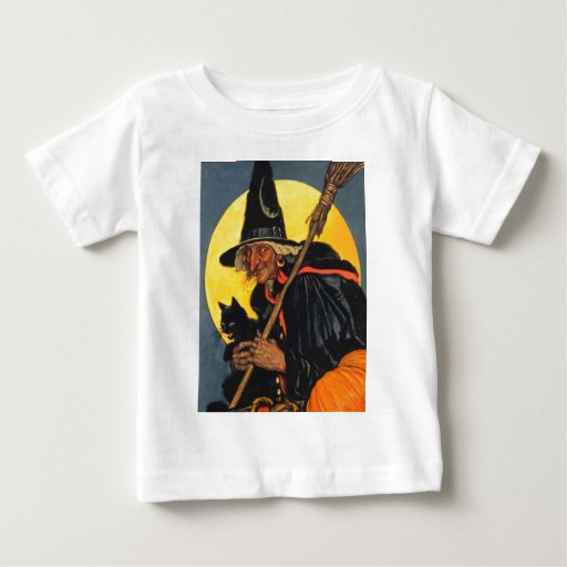 Vintage Witch with black cat Baby T-Shirt