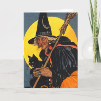 Vintage Witch with black cat Card