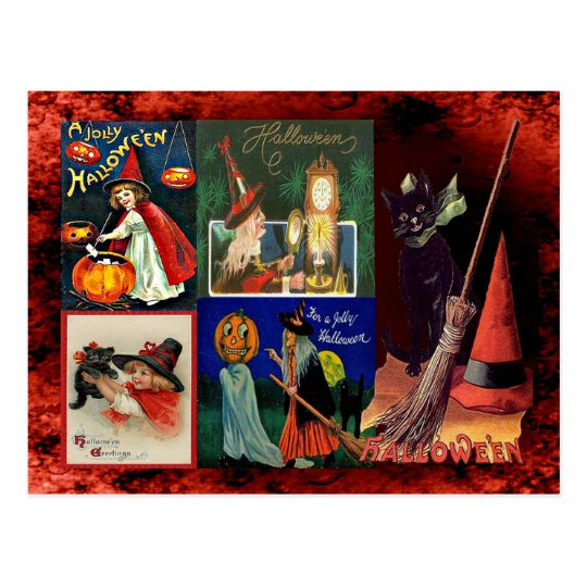 Vintage Witches and Black Cats Collage Postcard