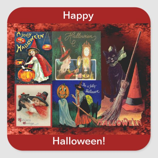 Vintage Witches and Black Cats Collage Square Sticker