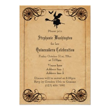 Halloween Themed Vintage Witches Ball Quinceañera Double Sided Card