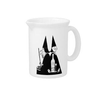 Vintage Witches Brew Alcohol Cauldron Halloween Beverage Pitcher