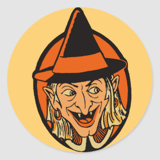 Vintage Witch's Face Classic Round Sticker