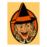 Vintage Witch's Face Post Card