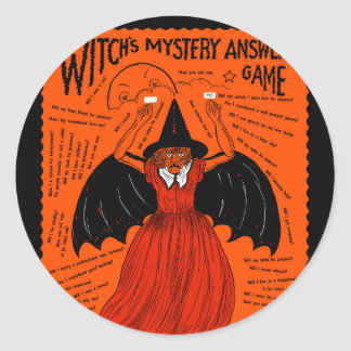 Vintage Witch's Mystery Answer Game Classic Round Sticker