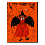 Vintage Witch's Mystery Answer Game Post Card