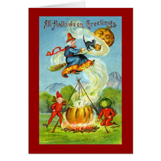 Vintage Witchy Halloween Greetings Card