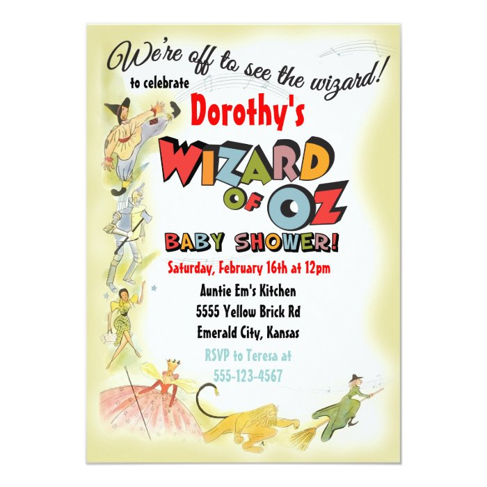 vintage wizard of oz baby shower invitations zazzle