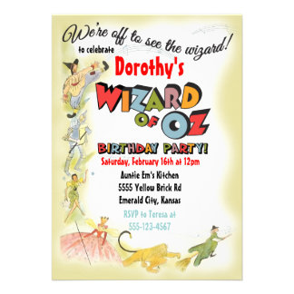 Vintage Wizard of Oz Birthday Party Invitations