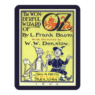 Vintage Wizard of Oz Book Cover Art Birthday Party 4.25x5.5 Paper Invitation Card