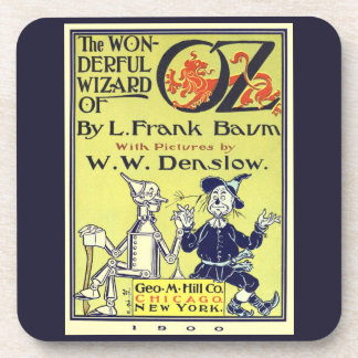Vintage Wizard of Oz Book Cover Art, Title Page Beverage Coaster