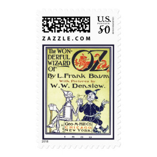 Vintage Wizard of Oz Book Cover Art, Title Page Postage