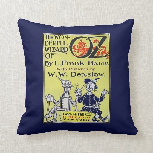 Vintage Book Cover T Shirts ~ Vintage wizard of oz book cover throw pillow zazzle