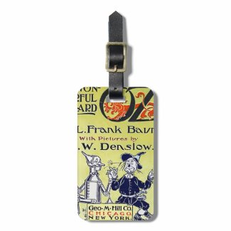 Vintage Wizard of Oz Book Cover Travel Bag Tag