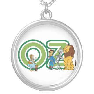 Vintage Wizard of Oz Characters and Letters Round Pendant Necklace