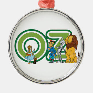 Vintage Wizard of Oz Characters and Letters Round Metal Christmas Ornament