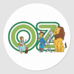 Vintage Wizard of Oz Characters and Letters Classic Round Sticker