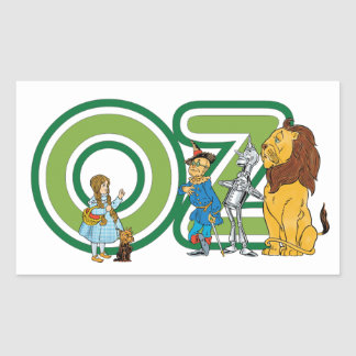Vintage Wizard of Oz Characters and Text Letters Rectangular Sticker