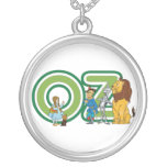 Vintage Wizard of Oz Characters and Text Letters Round Pendant Necklace