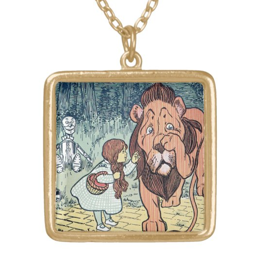 Vintage Wizard of Oz Characters, Yellow Brick Road Gold Plated Necklace