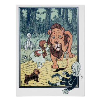 Vintage Wizard of Oz Characters, Yellow Brick Road Poster