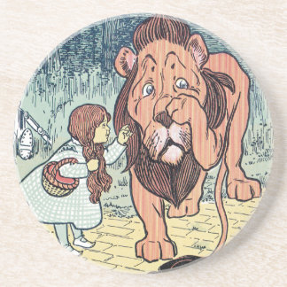 Vintage Wizard of Oz Characters, Yellow Brick Road Sandstone Coaster