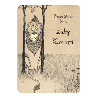 Vintage Wizard of Oz, Cowardly Lion Baby Shower Card