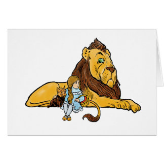 Vintage Wizard of Oz, Cowardly Lion, Dorothy, Toto Greeting Card