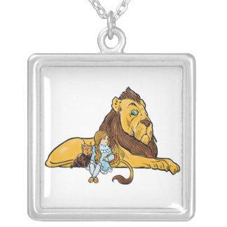Vintage Wizard of Oz, Cowardly Lion, Dorothy, Toto Square Pendant Necklace