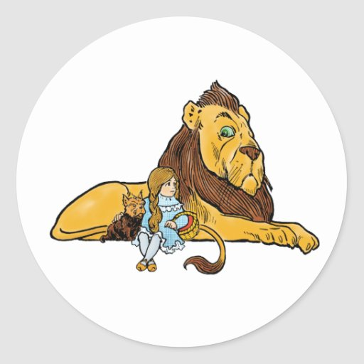 Vintage Wizard of Oz, Cowardly Lion, Dorothy, Toto Round Sticker