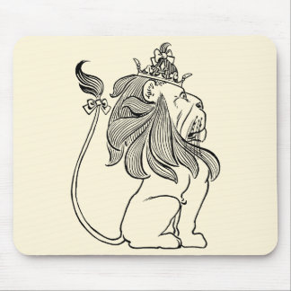 Vintage Wizard of Oz, Cowardly Lion with Crown Mouse Pad