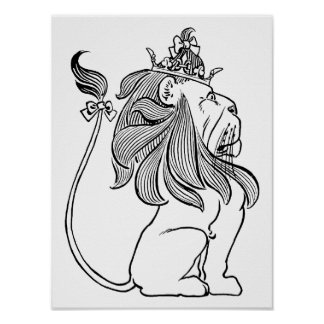 Vintage Wizard of Oz, Cowardly Lion with Crown Print