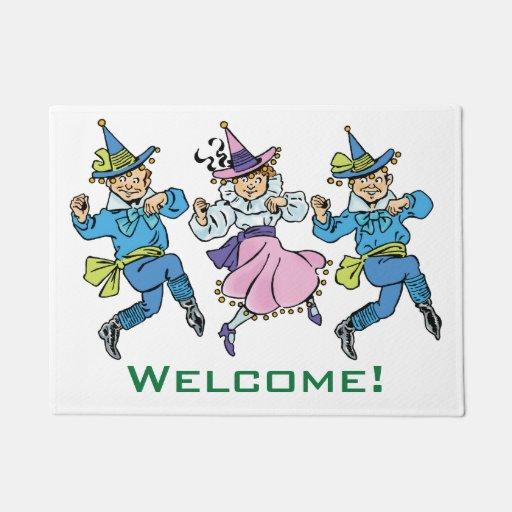 Vintage Wizard Of Oz Cute Dancing Munchkins Doormat Zazzle