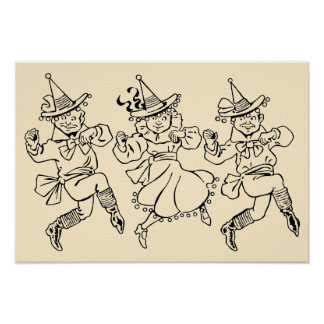 Vintage Wizard of Oz, Cute Dancing Munchkins! Posters