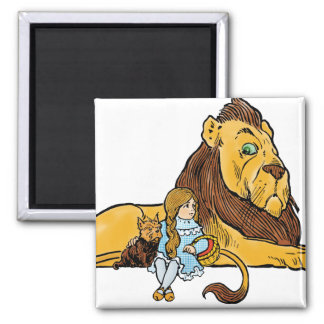 Vintage Wizard of Oz, Dorothy and Toto with Lion 2 Inch Square Magnet