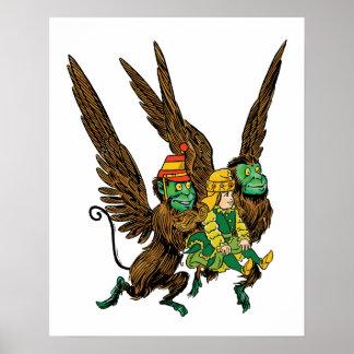 Vintage Wizard of Oz, Dorothy, Evil Flying Monkeys Poster
