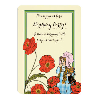 Vintage Wizard of Oz, Dorothy, Girl Birthday Party Card