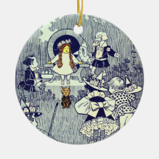 Vintage Wizard of Oz, Dorothy Meets the Munchkins Ceramic Ornament
