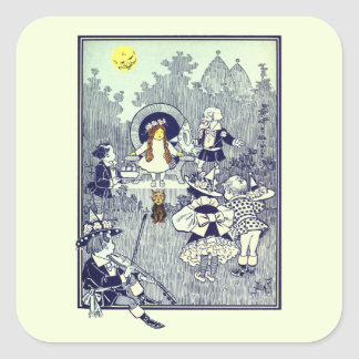 Vintage Wizard of Oz, Dorothy Meets the Munchkins Square Sticker