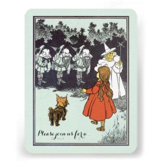 Vintage Wizard of Oz Dorothy Munchkins Birthday Personalized Invitations