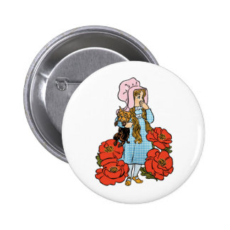 Vintage Wizard of Oz, Dorothy, Red Poppy Flowers 2 Inch Round Button