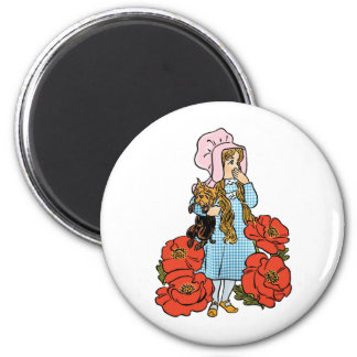 Vintage Wizard of Oz, Dorothy, Red Poppy Flowers Fridge Magnets
