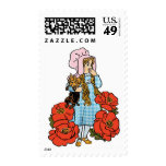 Vintage Wizard of Oz, Dorothy, Red Poppy Flowers Postage Stamps