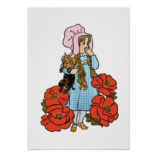 Vintage Wizard of Oz, Dorothy, Red Poppy Flowers Posters